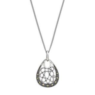 Tori HillSterling Silver Marcasite Teardrop Pendant Necklace