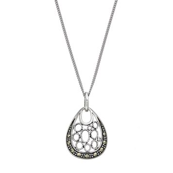 Tori Hill Sterling Silver Marcasite Teardrop Pendant Necklace