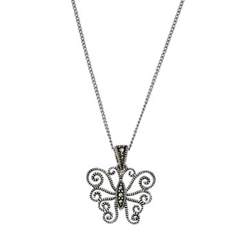 Tori Hill Sterling Silver Marcasite Butterfly Pendant Necklace