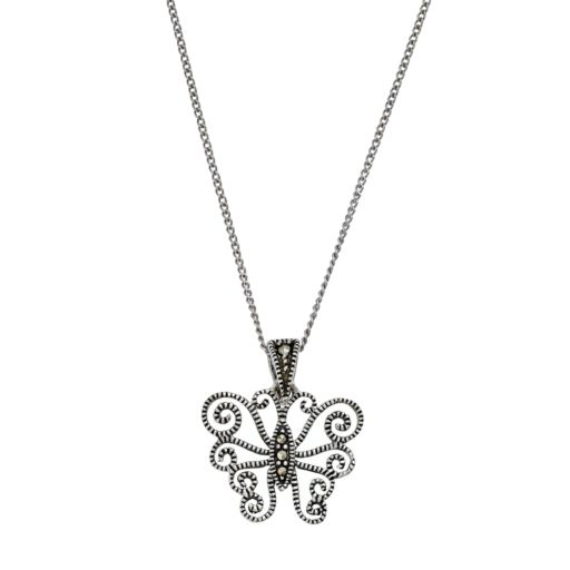 Tori HillSterling Silver Marcasite Butterfly Pendant Necklace