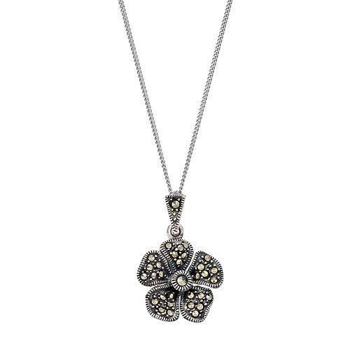 Tori HillSterling Silver Marcasite Flower Pendant Necklace