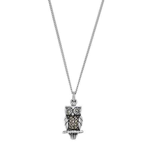 Tori Hill Sterling Silver Marcasite Owl Pendant Necklace
