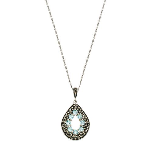 Tori Hill Sterling Silver Cubic Zirconia & Marcasite Teardrop Pendant Necklace