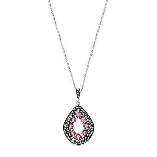 Tori HillSterling Silver Cubic Zirconia & Marcasite Teardrop Pendant Necklace
