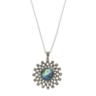 Tori Hill Sterling Silver Abalone & Marcasite Starburst Pendant Necklace