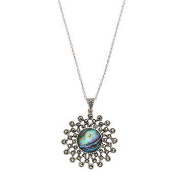 Tori HillSterling Silver Abalone & Marcasite Starburst Pendant Necklace