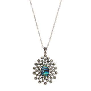 Tori HillSterling Silver Abalone & Marcasite Starburst Teardrop Pendant Necklace