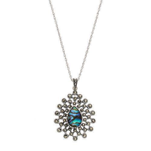 Tori Hill Sterling Silver Abalone & Marcasite Starburst Teardrop Pendant Necklace