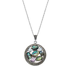 Tori Hill Sterling Silver Abalone & Cubic Zirconia Circle Pendant Necklace