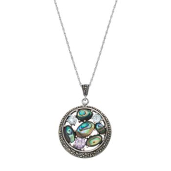 Tori HillSterling Silver Abalone & Cubic Zirconia Circle Pendant Necklace
