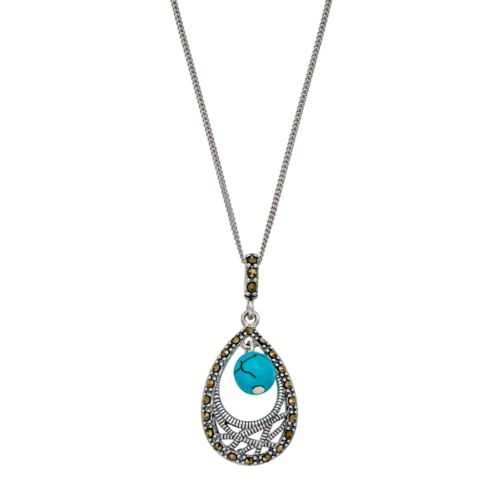 Tori HillSterling Silver Simulated Turquoise & Marcasite Teardrop Pendant Necklace