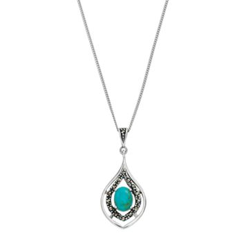 Tori Hill Sterling Silver Simulated Turquoise & Marcasite Teardrop Pendant Necklace