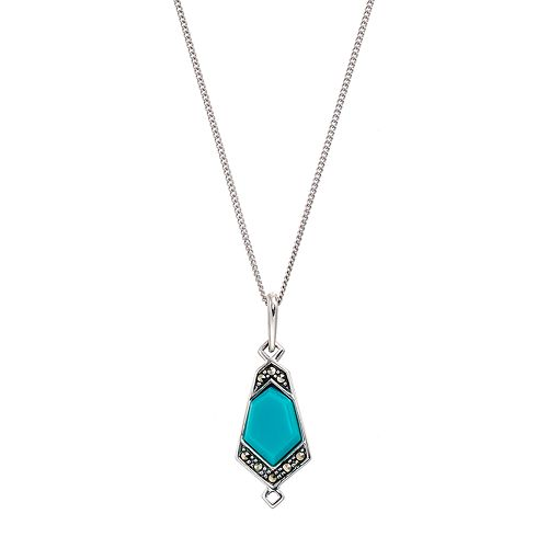 Tori HillSterling Silver Simulated Turquoise & Marcasite Geometric Pendant Necklace