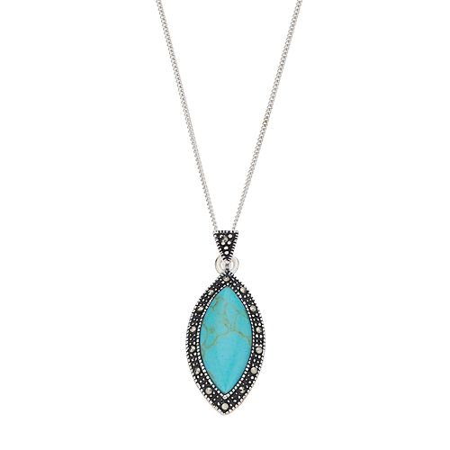 Tori Hill Sterling Silver Simulated Turquoise & Marcasite Pendant