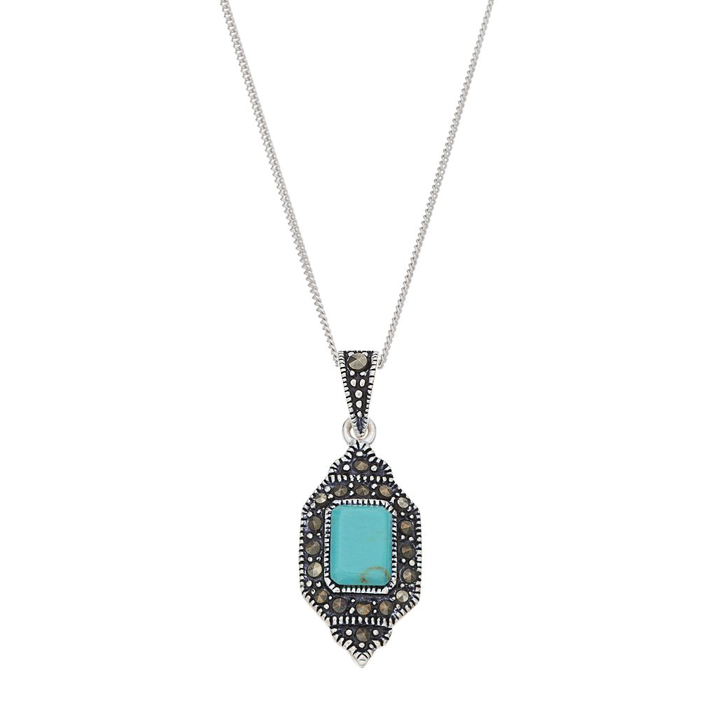 Tori HillSterling Silver Simulated Turquoise & Marcasite Pendant