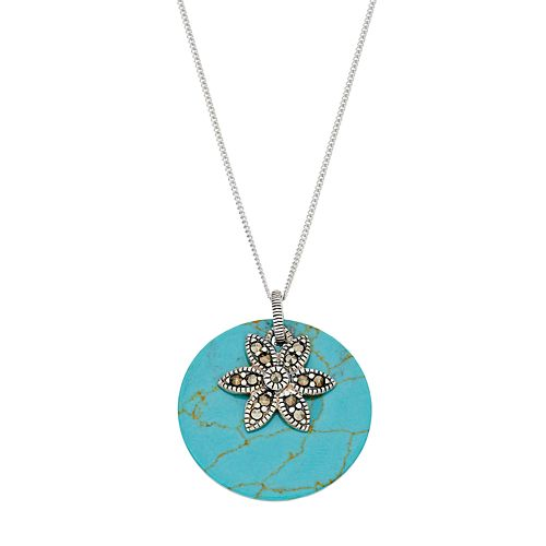 Tori Hill Sterling Silver Simulated Turquoise Disc & Marcasite Flower Pendant