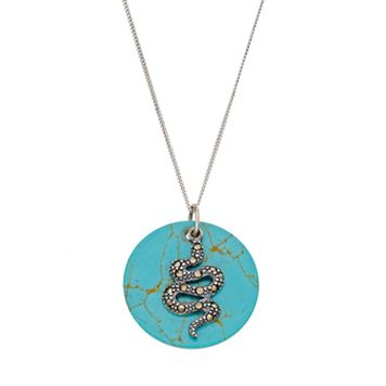 Tori Hill Sterling Silver Simulated Turquoise Disc & Marcasite Snake Pendant