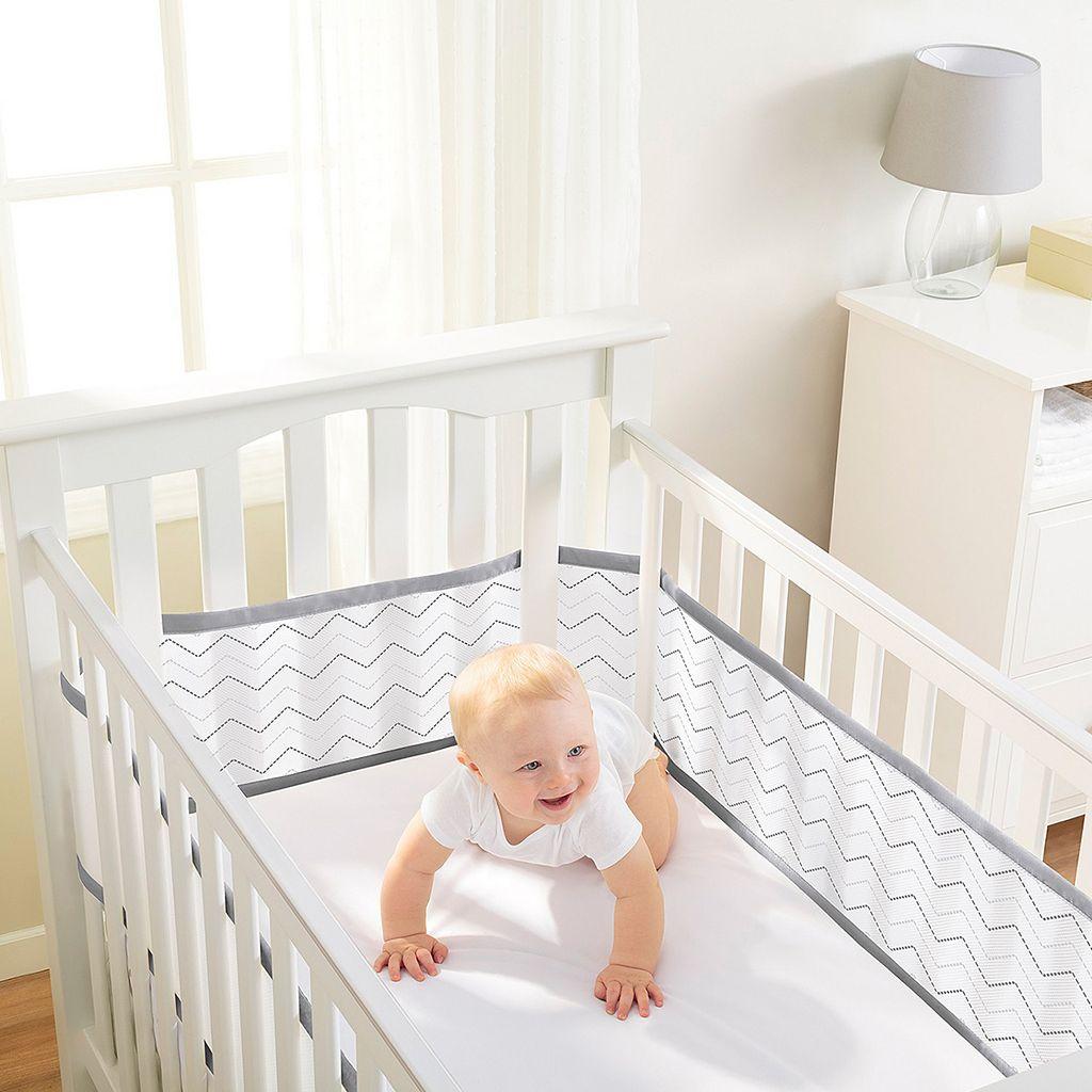 Breathable Baby Chevron Mesh Crib Liner
