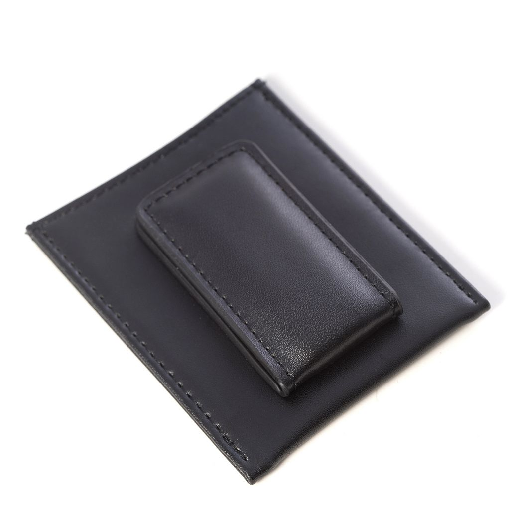 Bey-Berk Leather Magnetic Money Clip Wallet