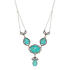 Tori Hill Sterling Silver Simulated Turquoise & Marcasite Swag Necklace