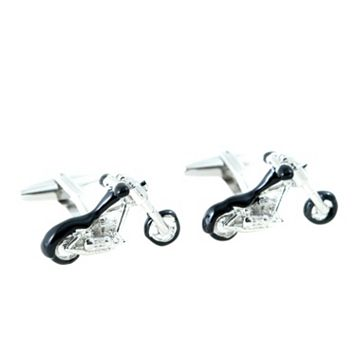 Bey-Berk Rhodium-Plated Motorcycle Cuff Links