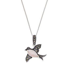 Tori HillSterling Silver Pink Shell & Marcasite Bird Pendant
