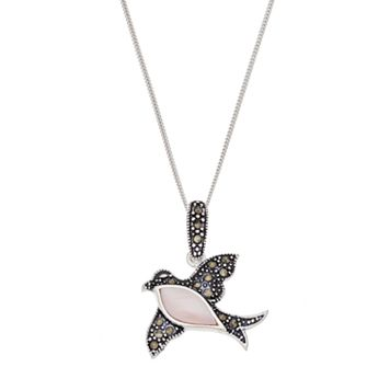 Tori Hill Sterling Silver Pink Shell & Marcasite Bird Pendant