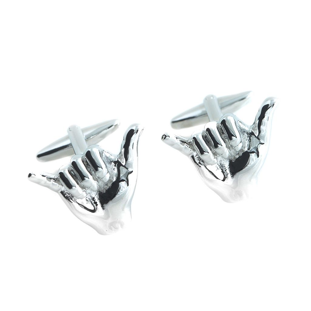 Bey-Berk Rhodium-Plated Hang Loose Cuff Links