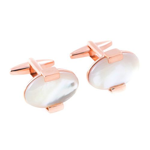 Bey-Berk Rose Gold-Tone & Mother-of-Pearl Cuff Links