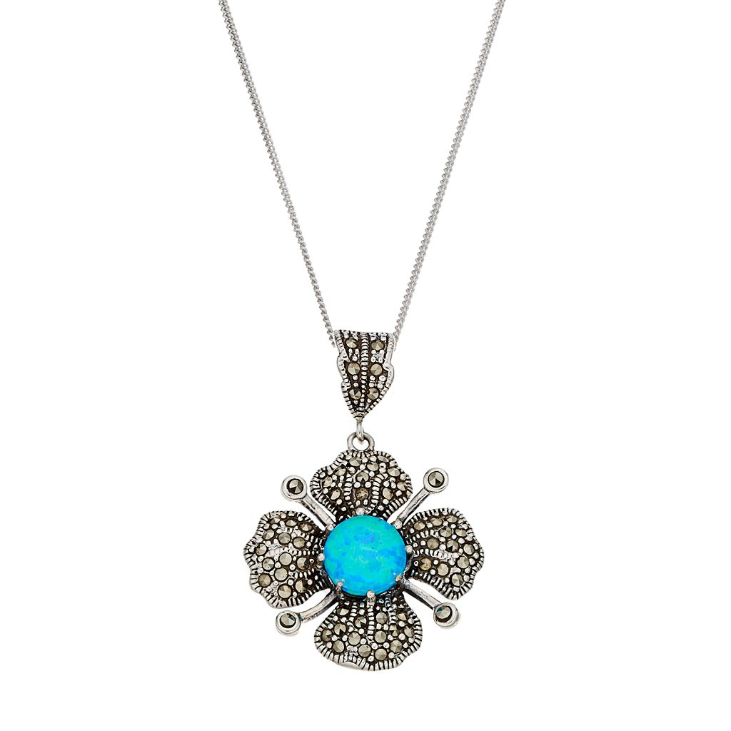 Tori Hill Sterling Silver Simulated Blue Opal & Marcasite Flower Pendant