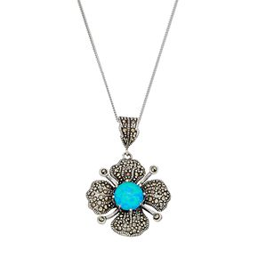 Tori HillSterling Silver Simulated Blue Opal & Marcasite Flower Pendant