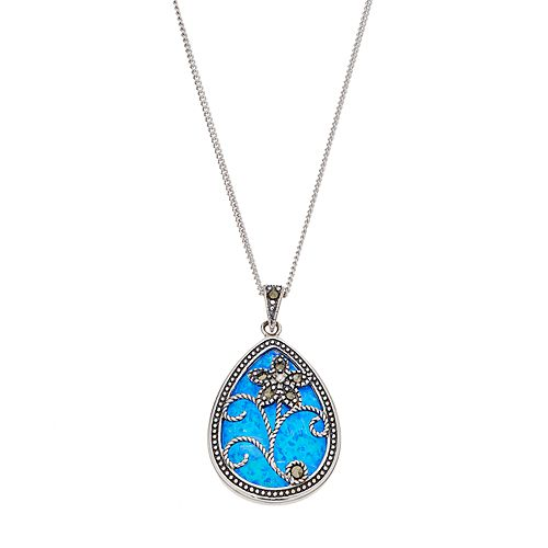 Tori Hill Sterling Silver Simulated Blue Opal & Marcasite Teardrop Pendant