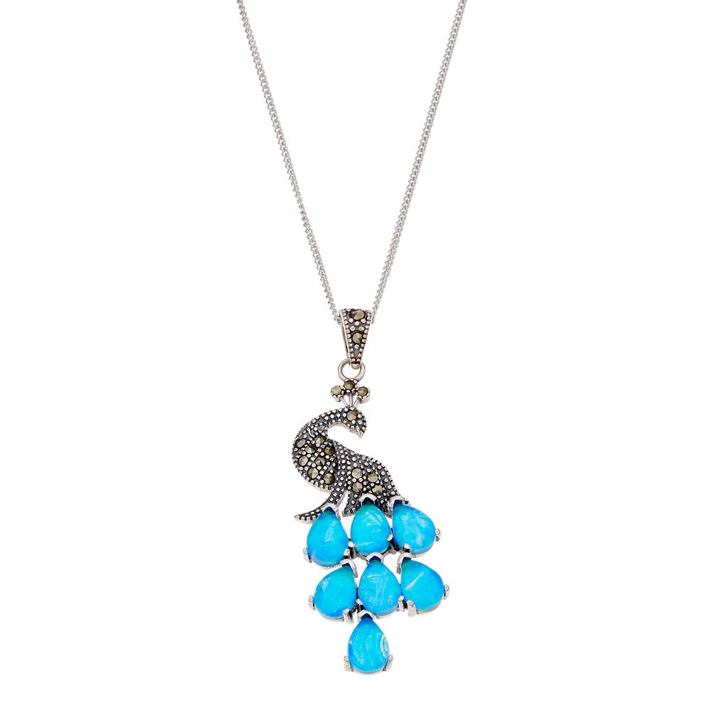 Tori Hill Sterling Silver Simulated Blue Opal & Marcasite Peacock Pendant