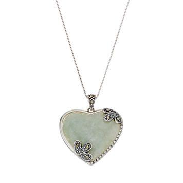 Tori HillSterling Silver Jade & Marcasite Heart Pendant