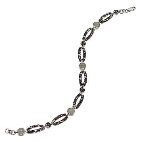 Tori HillSterling Silver Jade & Marcasite Bracelet