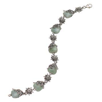 Tori HillSterling Silver Jade & Marcasite Heart Bracelet