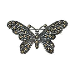 Tori Hill Sterling Silver Marcasite Butterfly Pin