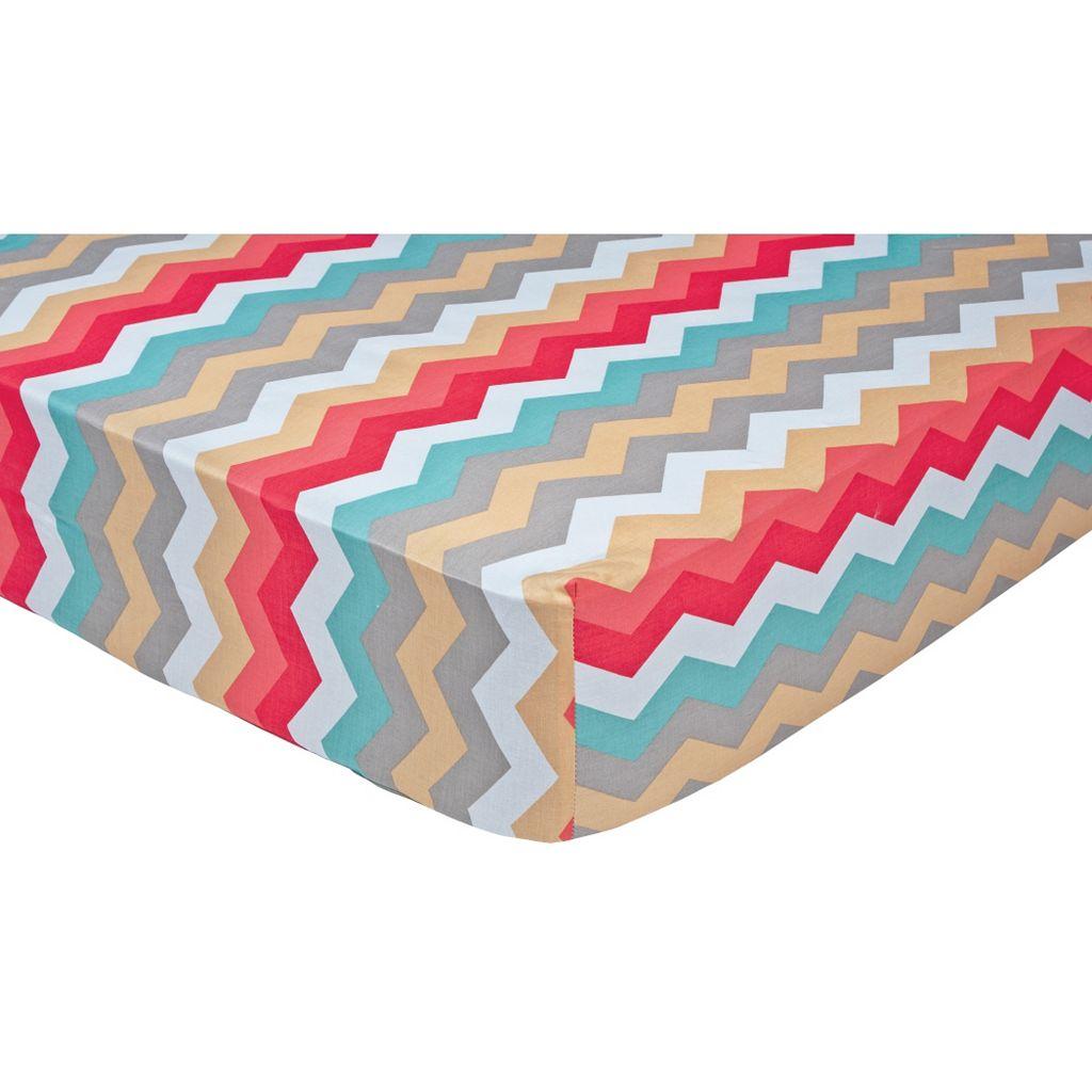 Waverly Baby by Trend Lab Pom Pom Chevron Panama Wave Crib Sheet
