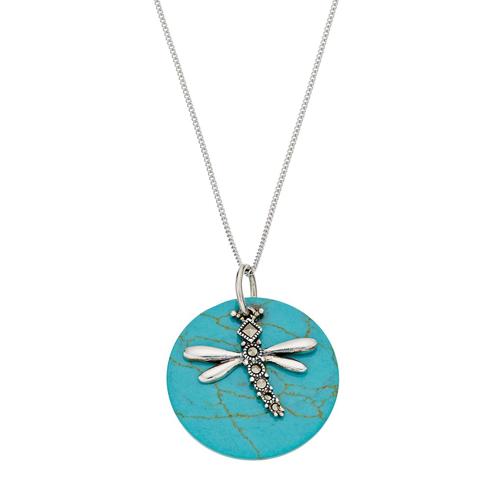Tori Hill Sterling Silver Simulated Turquoise Disc & Marcasite Dragonfly Pendant