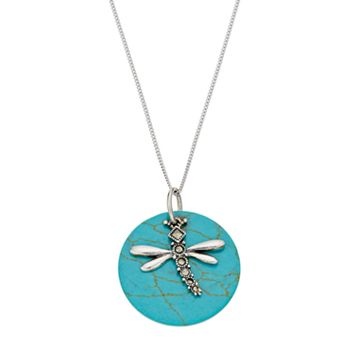 Tori HillSterling Silver Simulated Turquoise Disc & Marcasite Dragonfly Pendant