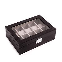 Bey-Berk Lacquered Wood Gray Watch Storage Case