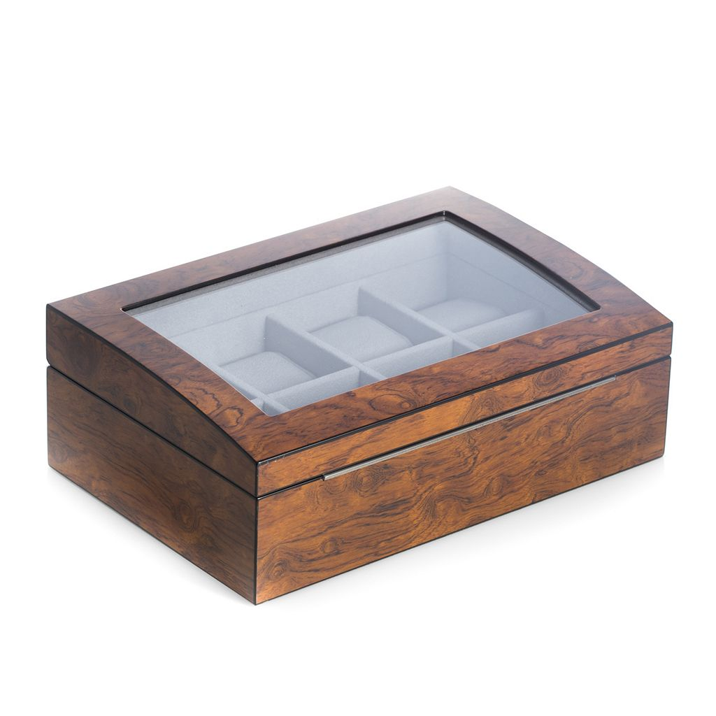 Bey-Berk Lacquered Wood Brown Watch Storage Case