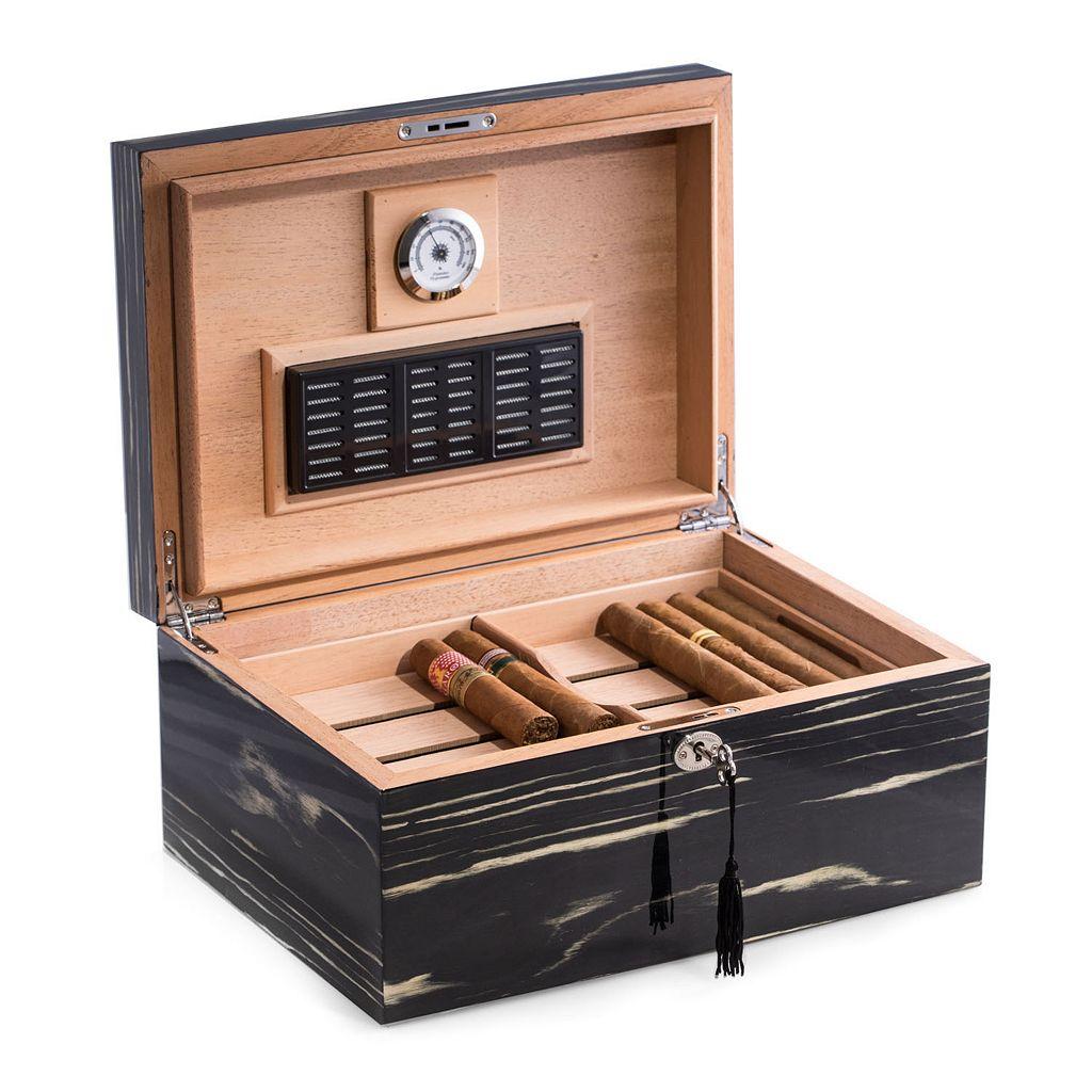 Bey-Berk Ebony Wood 100-Cigar Humidor