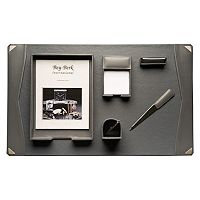 Bey-Berk 6-piece Gray Leather Desk Set