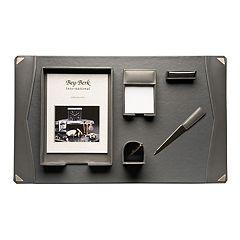 Bey-Berk  6 pc Gray Leather Desk Set