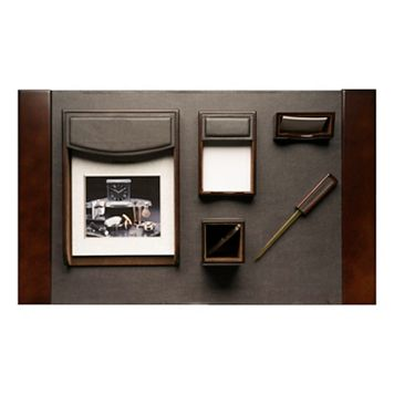 Bey-Berk 6-piece Brown Leather Desk Set