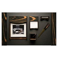 Bey-Berk 6-piece Ebony Leather Desk Set