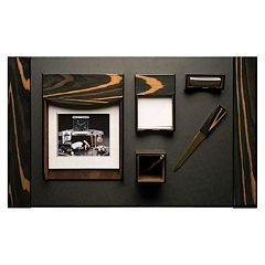 Bey-Berk  6 pc Ebony Leather Desk Set
