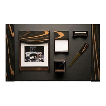 Bey-Berk 6-piece Ebony Leather Desk Set