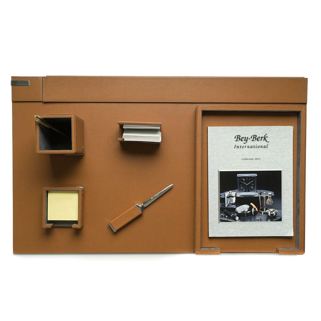 Bey-Berk 6-piece Brown Leather Desk Set
